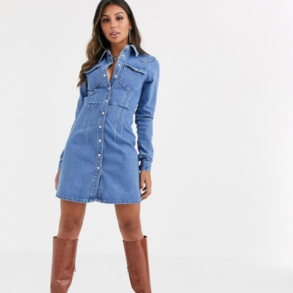 ASOS denim structured shirt dress in blue Size 4